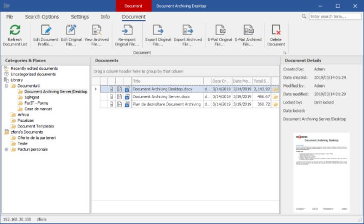 Document Archiving Desktop